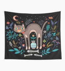 Floral and Cat at night Wall Tapestry