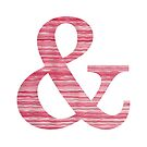 Letter & Ampersand Red Watercolor Stripes Initial Monogram  by theartofvikki