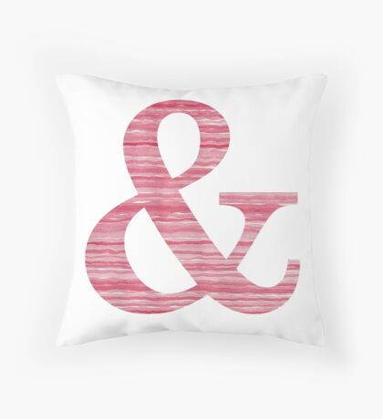 Letter & Ampersand Red Watercolor Stripes Initial Monogram  Throw Pillow