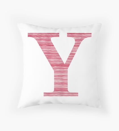 Letter Y Red Watercolor Stripes Initial Monogram Throw Pillow