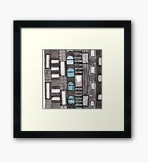 Gray Facade with Lighted Windows  Framed Print