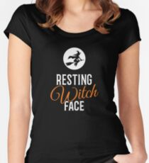 Resting Witch Face Halloween Women's Fitted Scoop T-Shirt