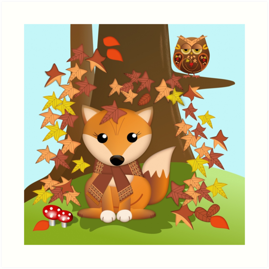 cute fall fox and owl art prints by walstraasart redbubble