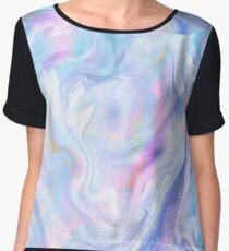 Holographic Pastel Color Print Chiffon Top