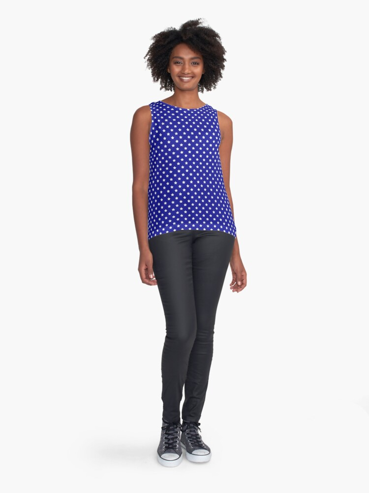 Alternate view of Blue and White Stars Sleeveless Top