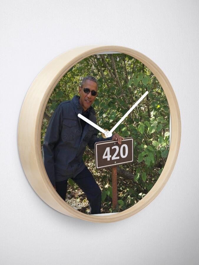 Alternate view of 420 Obama Print Clock