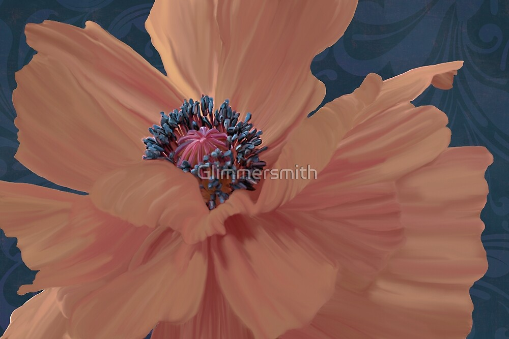 Pale Salmon Poppy floral painting in complimentary colors, navy damask by Glimmersmith