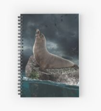 Seal in the ocean Spiral Notebook