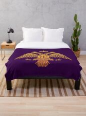 Byzantine Eagle Symbol Flag Throw Blanket