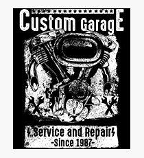 Custom Motorcycle Garage Photographic Print