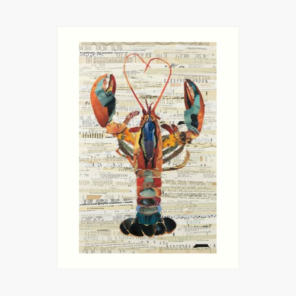 Lobster Collage by C.E. White  Art Print