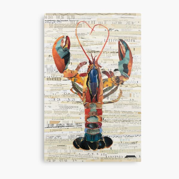 Lobster Collage by C.E. White  Metal Print