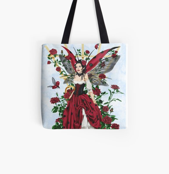 Ladybug Fairy Red Rose Garden All Over Print Tote Bag