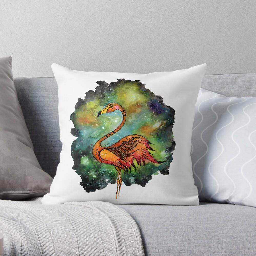 Galactic Flamingo  Throw Pillow