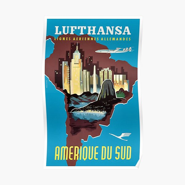 1958 Lufthansa South America Travel Poster Poster