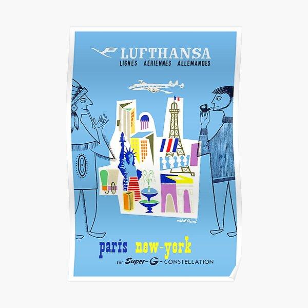Vintage Lufthansa Paris To New York Travel Poster Poster