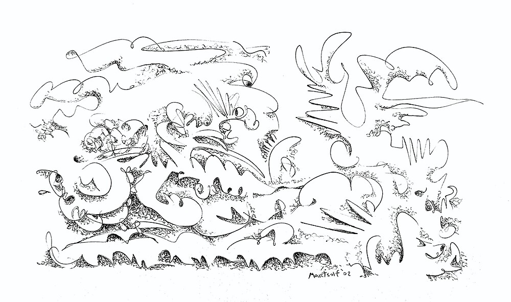 """Botanical Attitude - pen and ink on paper - 10"""" x 7"""" - 2002 by Dave Martsolf"""