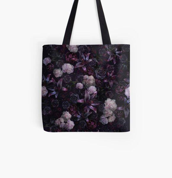 Midsummer Nights Dream #Dark Floral #Midnight #Black #Rose #Night All Over Print Tote Bag