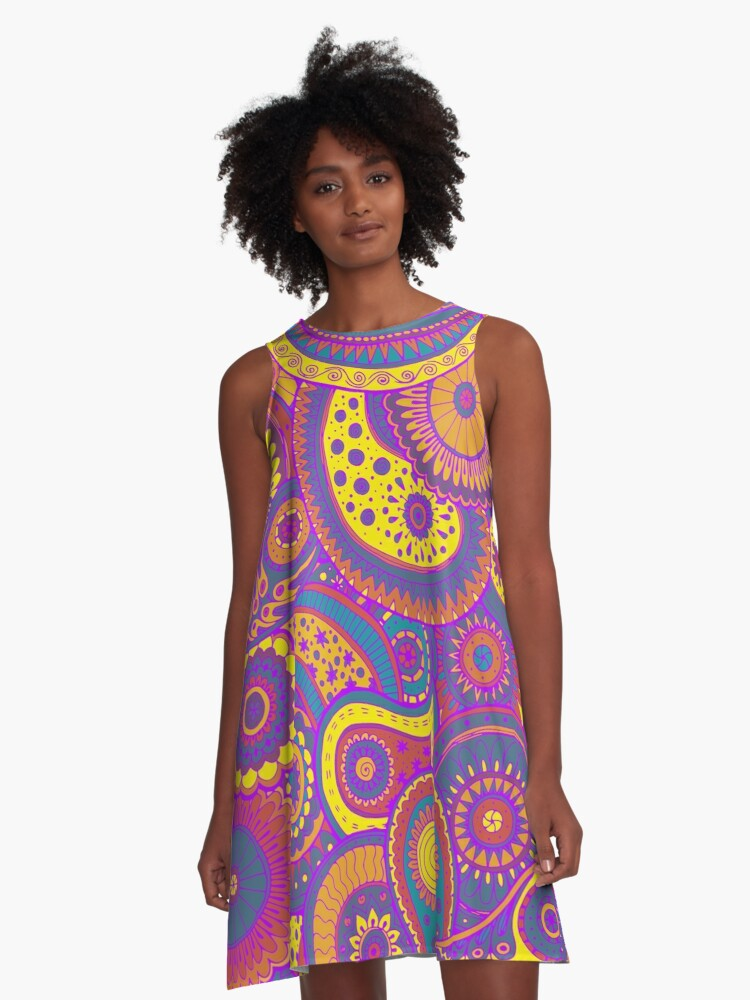 Pretty Colorful Hippie Paisley Art A-Line Dress Front