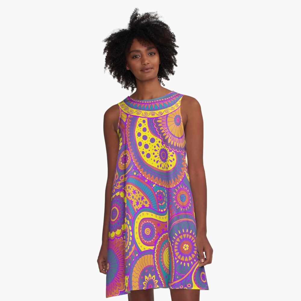 Pretty Colorful Hippie Paisley Art A-Line Dress Front