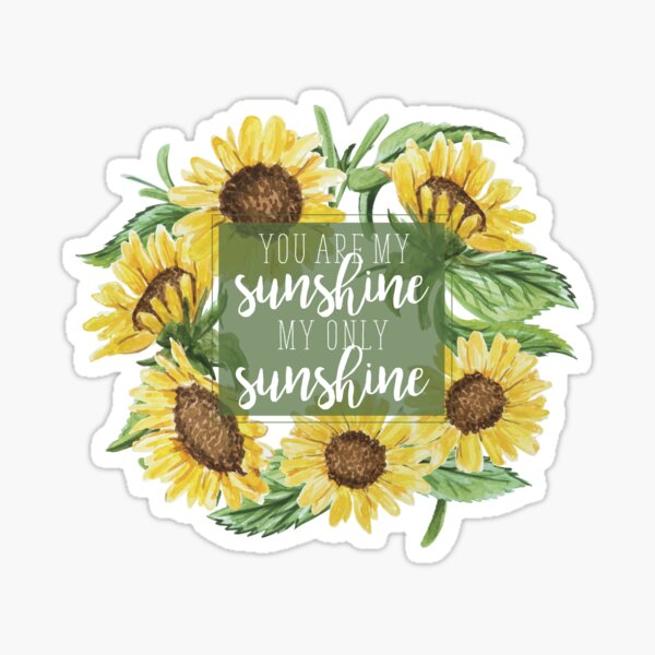 You Are My Sunshine Floral Design Sticker