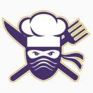 Ninja Chef Crossed Knife Fork Icon by patrimonio
