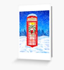 British Red Telephone Box In Falling Christmas Snow Greeting Card