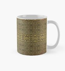 Black and Gold Leaf Bridget Riley Inspired Pattern and Butterfly Mug