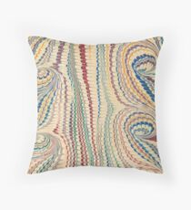 Swirling and vertical marbling with cream, red, blue and yellow Throw Pillow