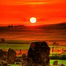 Sunset over Beaghmore Stone Circles by doublevision