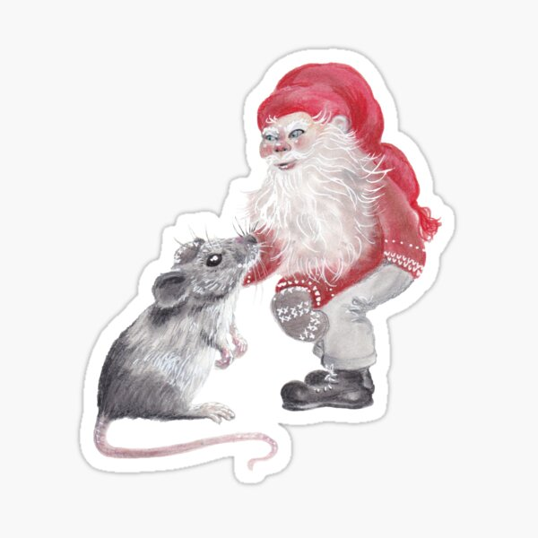 Gnome and mouse - Christmas Sticker