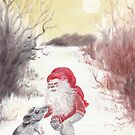 Gnome and mouse - Christmas by Lisbeth Thygesen