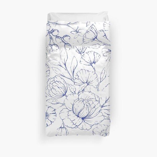 Modern hand drawn navy blue white elegant floral pattern Duvet Cover