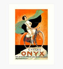 Lámina artística 1925 Onyx Cycles cartel publicitario francés