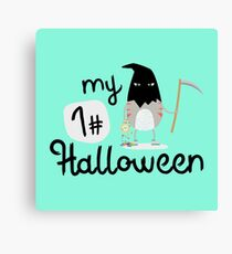 My First Halloween Cat Horro happy-Design Canvas Print