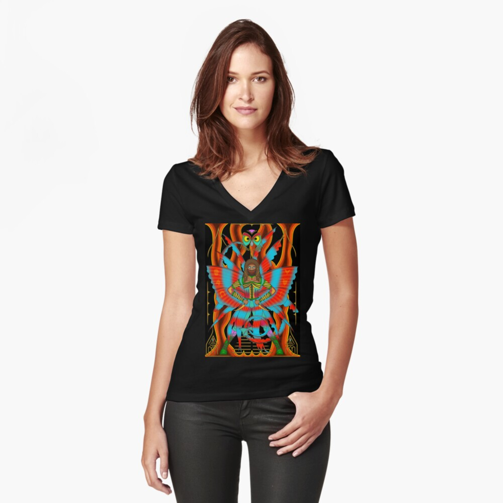 Fire Fairy - Egyptian Fire Fairy Assassin Women's Fitted V-Neck T-Shirt Front