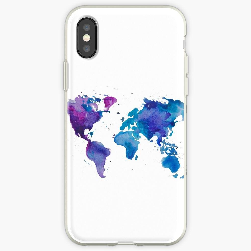 Aquarell Karte der Welt iPhone-Hülle & Cover