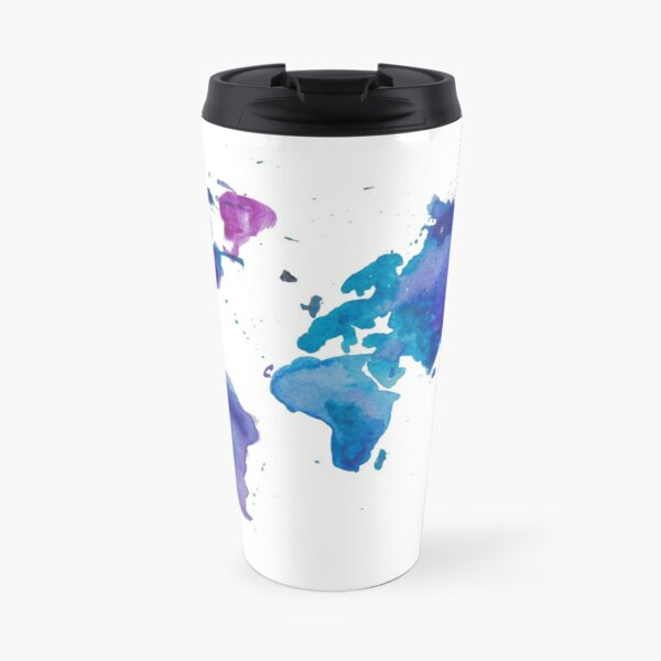 Watercolor Map of the World Travel Mug