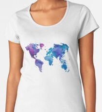 Watercolor Map of the World Women's Premium T-Shirt