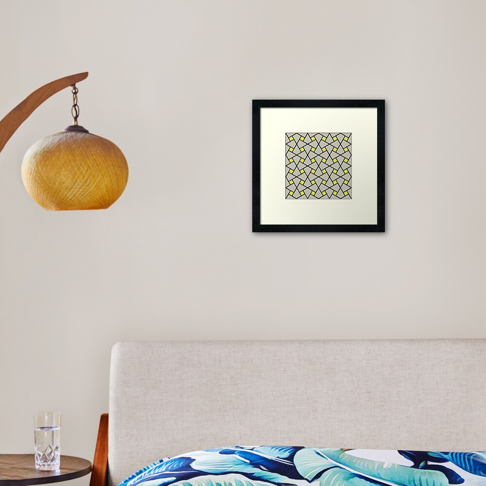 Geometric Pattern: Square Twist: Grey Framed Art Print
