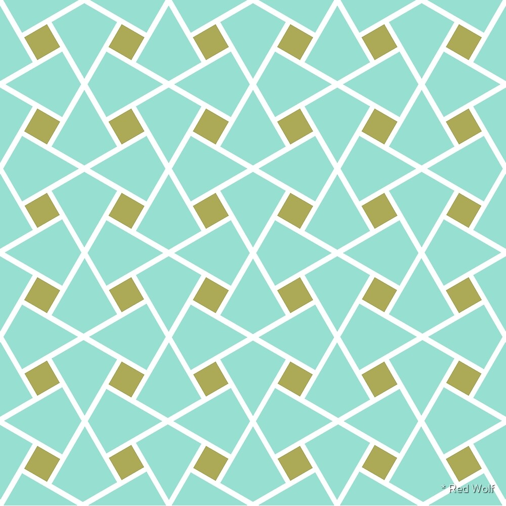 Geometric Pattern: Square Twist: Blue by * Red Wolf