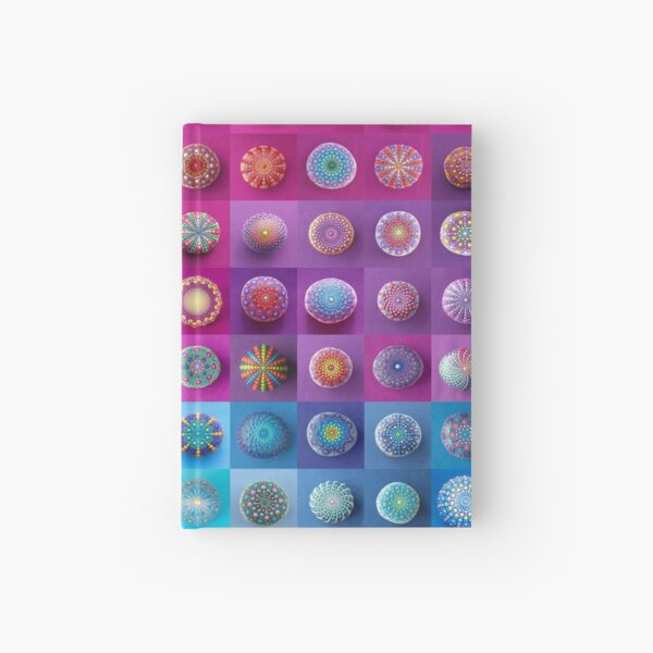 Colourful collection of hand painted mandala stones Hardcover Journal
