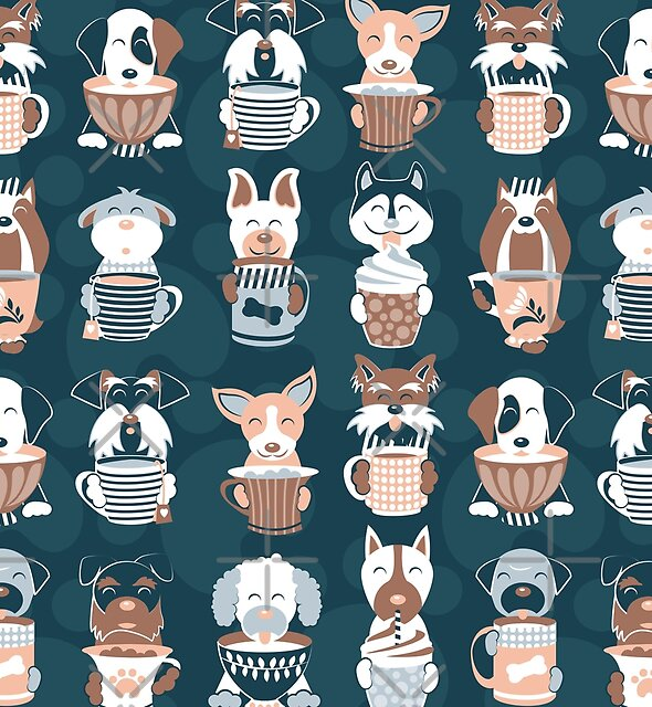 Doggie Coffee and Tea Time 2 // 2019 Calendar // navy blue background by SelmaCardoso