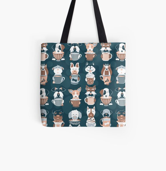 Doggie Coffee and Tea Time 2 // 2019 Calendar // navy blue background All Over Print Tote Bag