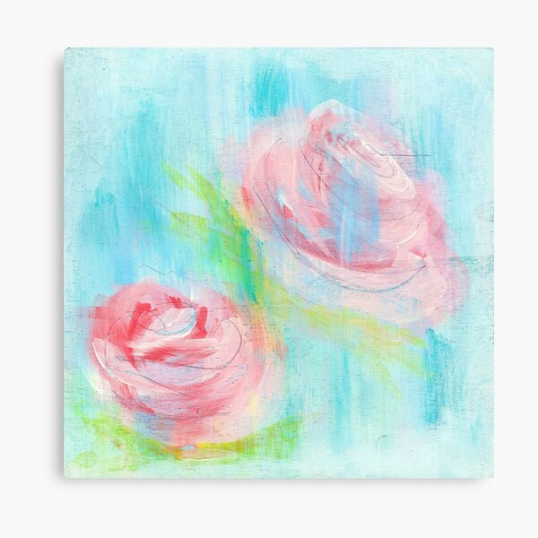 Faded Roses Abstract Acrylic Painting Print Canvas Print