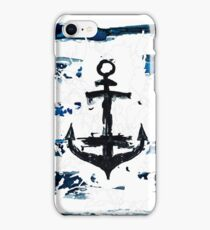 Hand paint watercolor sea pattern. Nature theme. Blue rough stripes made by the brush. Anchor.  iPhone Case/Skin