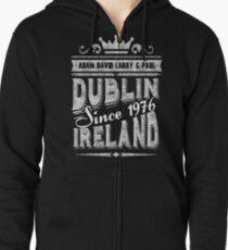 u2 dublin ireland vintage white Zipped Hoodie