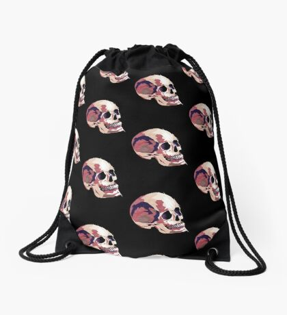 Skull pink Halloween Drawstring Bag