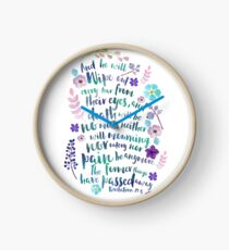 Revelation 21:4 (Purple Flowers) Clock