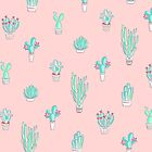 Little Succulent Pattern on Pastel Pink by Dominiquevari